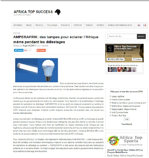 L'interview d'AMPERAFRIK France sur le site AfricaTopSuccess